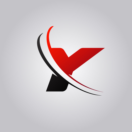 initial Y Letter logo with swoosh colored red and black