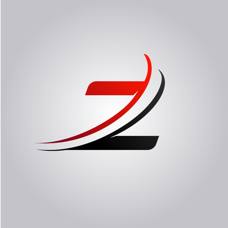 initial Z Letter logo with swoosh colored red and black
