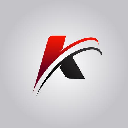 logo iniziale della lettera K con swoosh colorato di rosso e nero