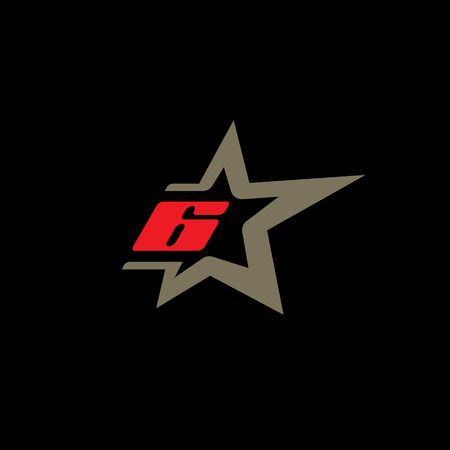 Number 6 logo template with Star design element.