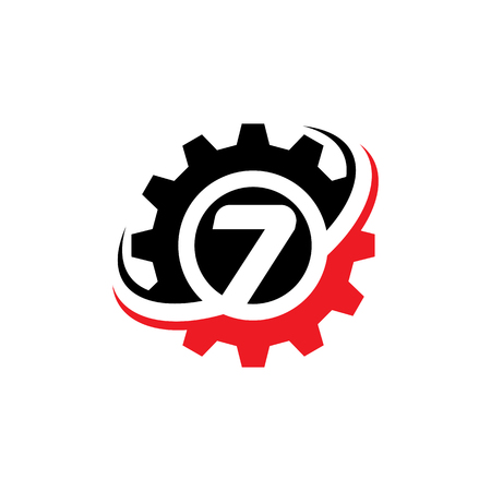 Number 7 Gear Logo Design Template