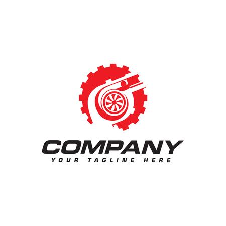 turbocharger and gear logo. Automotive performance logo 向量圖像