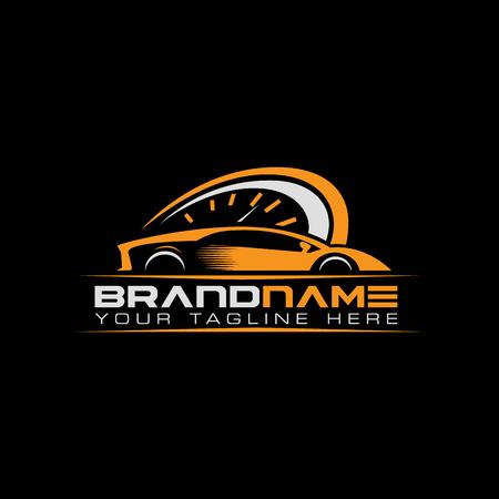 Sportwagen mit Drehzahlmesser-Logo. Auto Performance Logo