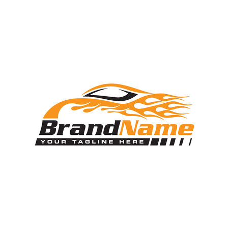 Automotive speed car with flame logo