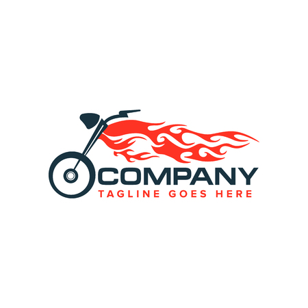 motorcycle with flame logo. Auto race motor bike logo