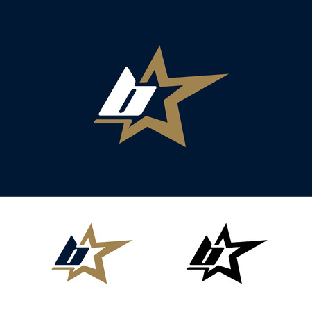 Letter B logo template with Star design element. Vector illustration. Corporate branding identity