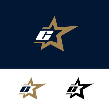 Letter C logo template with Star design element. Vector illustration. Corporate branding identity