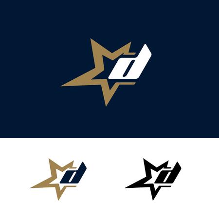 Szablon logo litery D z elementem projektu gwiazdy. Ilustracja wektorowa. Identyfikacja marki korporacyjnej