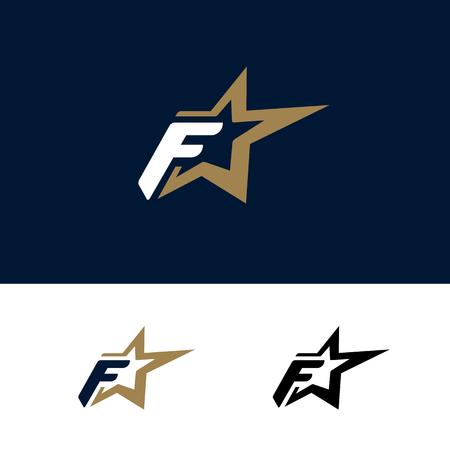 Modello di logo della lettera F con elemento di design stella. Illustrazione vettoriale. Identità del marchio aziendale
