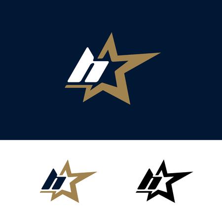 Letter H logo template with Star design element. Vector illustration. Corporate branding identity