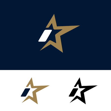 Letter I logo template with Star design element. Vector illustration. Corporate branding identity