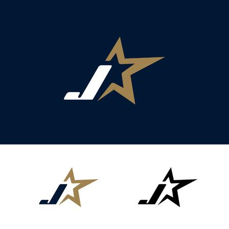 Letter J logo template with Star design element. Vector illustration. Corporate branding identity