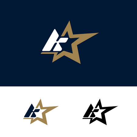 Letter K logo template with Star design element. Vector illustration. Corporate branding identity Illusztráció
