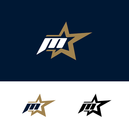Letter M logo template with Star design element. Vector illustration. Corporate branding identity  イラスト・ベクター素材