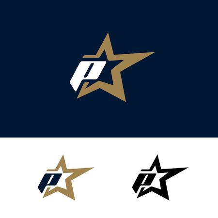 Letter P logo template with Star design element. Vector illustration. Corporate branding identity