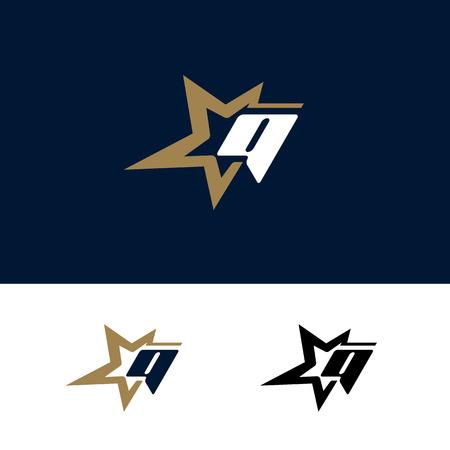 Letter Q logo template with Star design element. Vector illustration. Corporate branding identity Ilustracja