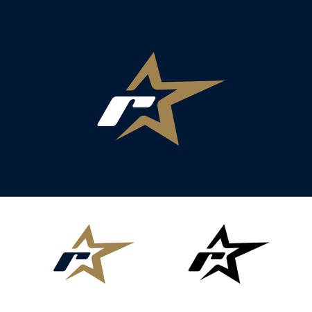 Letter R logo template with Star design element. Vector illustration. Corporate branding identity