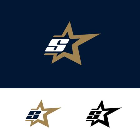 Sjabloon voor brief S-logo met Star-designelement. Vector illustratie. Corporate branding identiteit