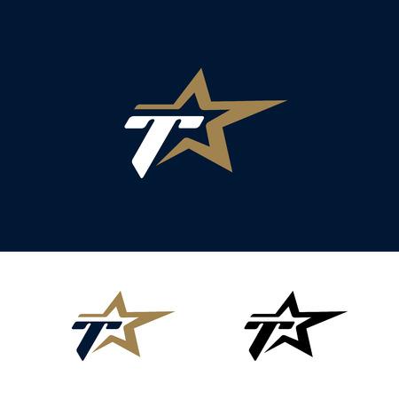 Letter T logo template with Star design element. Vector illustration. Corporate branding identity Ilustrace