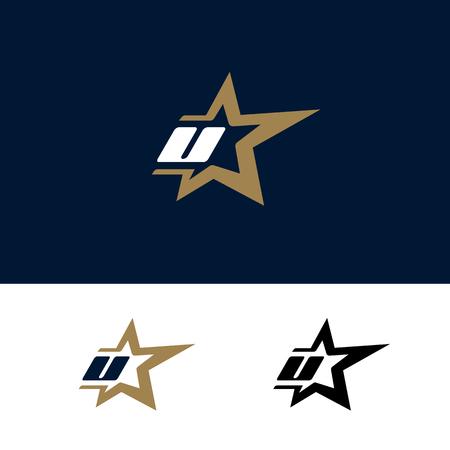 Letter U logo template with Star design element. Vector illustration. Corporate branding identity