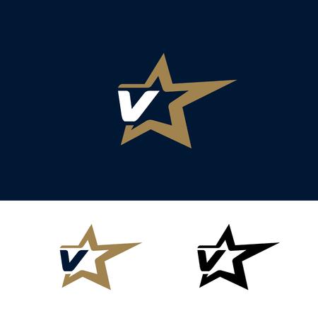 Letter V logo template with Star design element. Vector illustration. Corporate branding identity Ilustracja