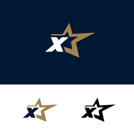 Letter X logo template with Star design element. Vector illustration. Corporate branding identity