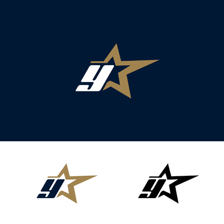 Letter Y logo template with Star design element. Vector illustration. Corporate branding identity