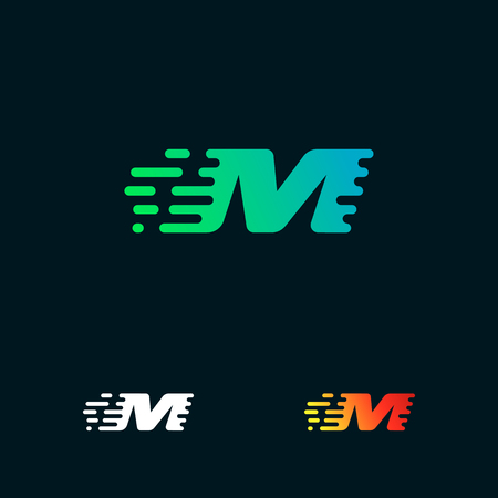 letter M modern speed shapes logo design vector
