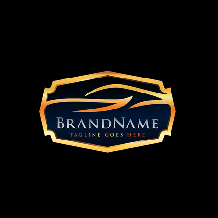 Automotive Logo Template with luxury car illustration in gold emblem color on black background