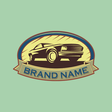 A template of classic or vintage or retro car logo design. vintage style 일러스트