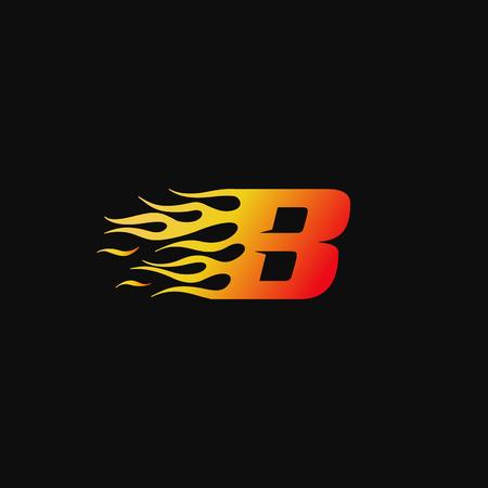 Buchstabe B Logo-Designvorlage für brennende Flammen Logo