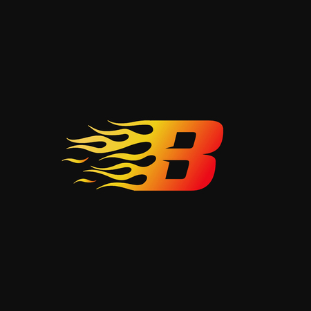 letter B Burning flame logo design template