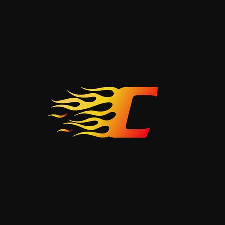 letter C Burning flame logo design template