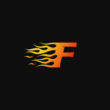 letter F Burning flame logo design template