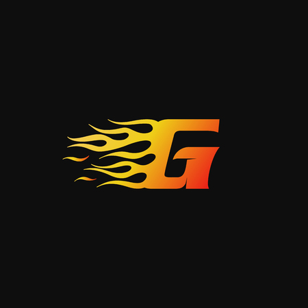 letter G Burning flame logo design template Ilustrace
