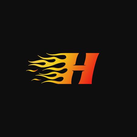 lettre H modèle de conception de logo de flamme brûlante Logo