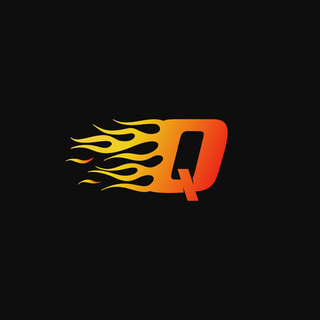 letter Q Burning flame logo design template Illustration