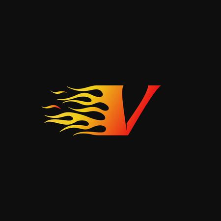 letter V Burning flame logo design template