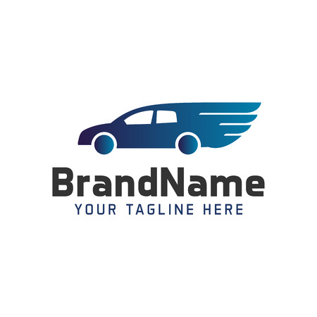 Logo car with wings. Illustration