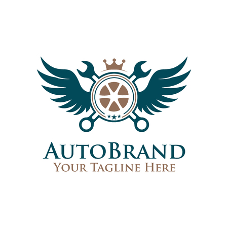 vector illustration emblem tire wheel , wrench with wings logo. auto service logo Illustration