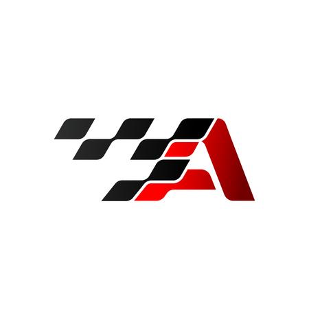 Lettera A con logo della bandiera da corsa
