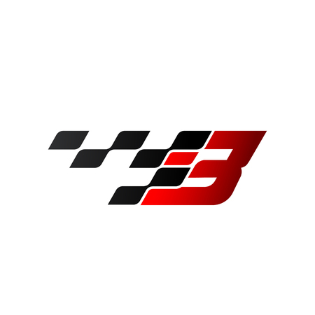 Letter B with racing flag logo