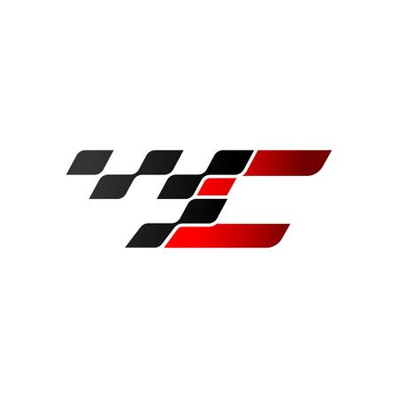 Lettre C avec logo drapeau de course