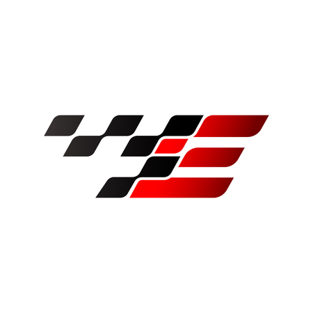 Letter E with racing flag logo