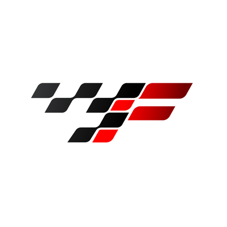 Letter F with racing flag logo