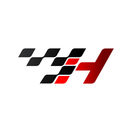 Letter H with racing flag logo