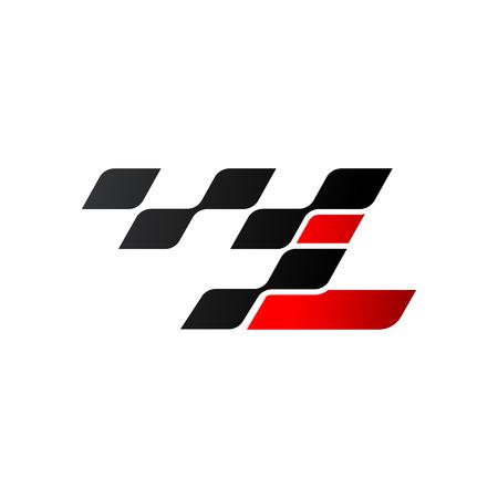 Letter L with racing flag logo Illustration