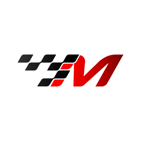 Letter M with racing flag logo 스톡 콘텐츠 - 105838589