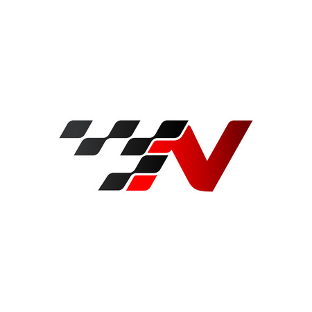 Letter N with racing flag logo