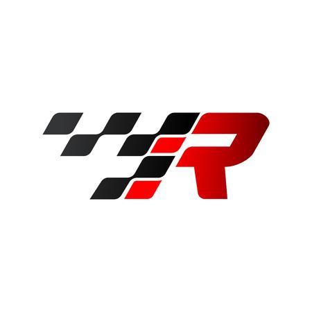 Litera R z logo flagi wyścigów